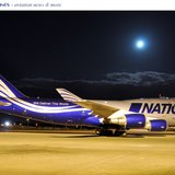The cargo conversion of the Boeing 747 jet liner flown by National, and contracted by the U.S. Government.