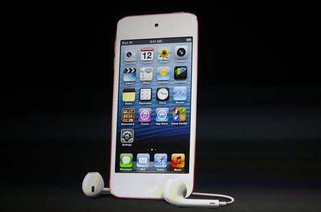 The refreshed iPod Touch with new earpods is introduced during Apple Inc.'s iPhone media event in San Francisco, California September 12, 20