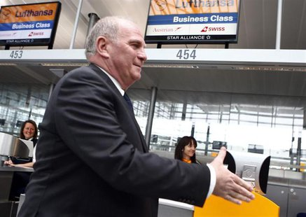 Bayern Munich's President Uli Hoeness arrives at Munich's international airport before the team's flight to Barcelona on April 30, 2013. REU