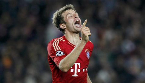 Bayern Munich's Thomas Mueller celebrates after scoring a goal against Barcelona during their Champions League semi-final second leg soccer