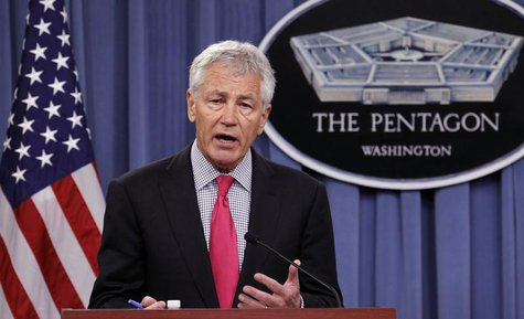 U.S. Defense Secretary Chuck Hagel speaks during a joint news conference with Japanese Defense Minister Itsunori Onodera at the Pentagon in