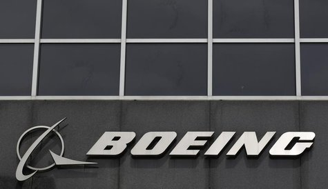 The Boeing logo is seen at their headquarters in Chicago, April 24, 2013. Boeing Co's first-quarter earnings jumped nearly 20 percent, handi