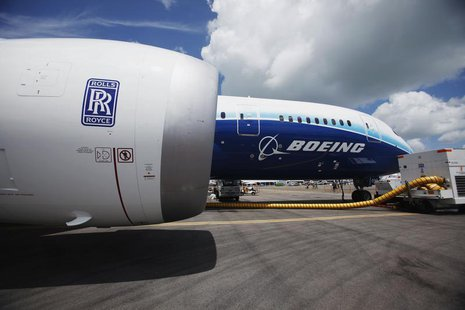 A view of one of two Rolls Royce Trent 1000 engines of the Boeing 787 Dreamliner during a media tour of the aircraft ahead of the Singapore