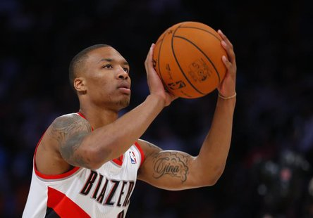 West All-Star Damian Lillard of the Portland Trailblazers takes part in the All-Star Skills competition during the NBA basketball All-Star w