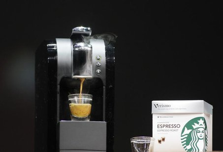 The Verismo single serve home espresso maker is demonstrated during Starbucks Annual Meeting of Shareholders in Seattle, Washington, March 2