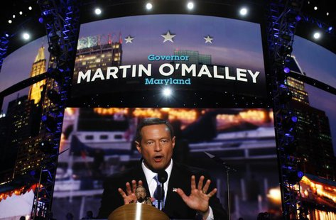 Maryland Governor Martin O'Malley addresses the 2012 Democratic National Convention in Charlotte, North Carolina, September 4, 2012. REUTERS