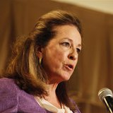 Democrat Elizabeth Colbert Busch makes a point during the South Carolina 1st Congressional district debate with former South Carolina Govern