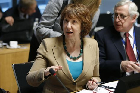 European Union foreign policy chief Catherine Ashton speaks at the start of an EU foreign ministers meeting in Luxembourg April 22, 2013. RE