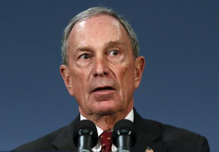 New York City Mayor Michael Bloomberg speaks to the media at New York's City Hall after a ruling invalidating the city's plan to ban large s