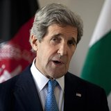 U.S. Secretary of State John Kerry delivers a statement after a meeting with Afghan President Hamid Karzai and Pakistani Army Chief General