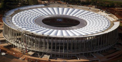 A general view of the National Mane Garrincha Stadium, seen under construction in Brasilia April, 28, 2013. The stadium will be one of the v