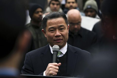 "New York City Comptroller and mayoral candidate John Liu speaks in support of a demonstration against the New York Police Department's ""stop"