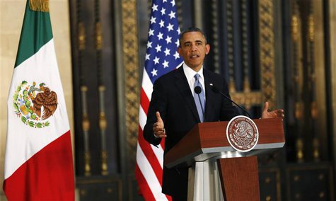 U.S. President Barack Obama speaks during a joint news conference with his Mexican counterpart Enrique Pena Nieto (not pictured) at the Nati