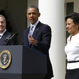 U.S. President Barack Obama announces Penny Pritzker (R) as his nominee for U.S. Secretary of Commerce and economic adviser Mike Froman (L)
