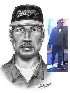 The suspect is seen here in a composite sketch and a video still taken from surveillance footage.