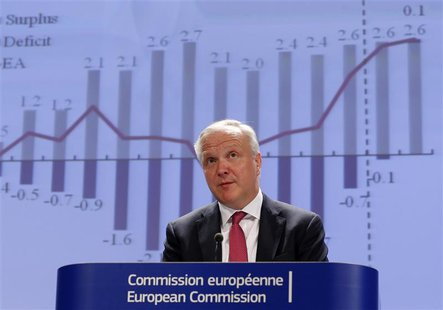 European Economic and Monetary Affairs Commissioner Olli Rehn presents the European Commission spring economic forecasts and outlook expecta