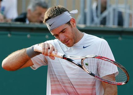 Juan Martin Del Potro of Argentina reacts during his match against Jarkko Nieminem of Finland during the Monte Carlo Masters in Monaco April