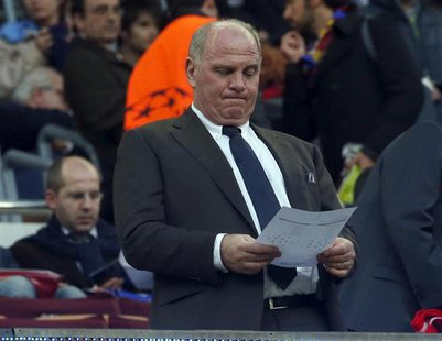 Bayern Munich's President Uli Hoeness waits for the start of the Champions League semi-final second leg soccer match against Barcelona at Ca
