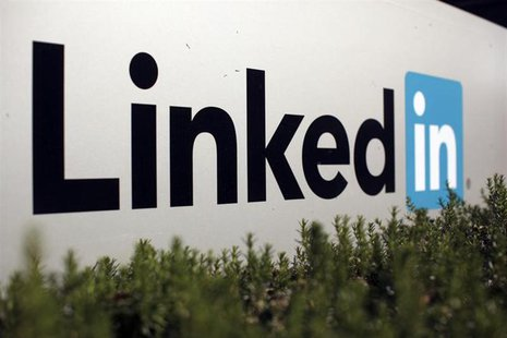 The logo for LinkedIn Corporation, a social networking website for people in professional occupations, is shown in Mountain View, California
