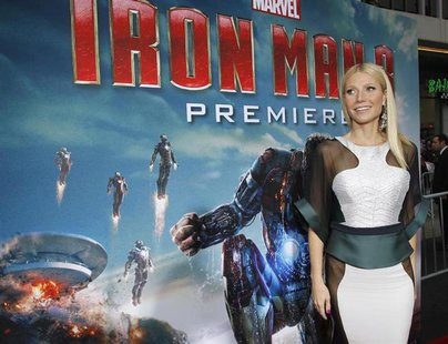 "Cast member Gwyneth Paltrow poses at the premiere of ""Iron Man 3"" at El Capitan theatre in Hollywood, California April 24, 2013. REUTERS/Mar"