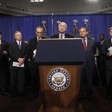"The U.S. Senate's ""Gang on Eight"" are pictured during a news briefing on Capitol Hill in Washington, April 18, 2013. REUTERS/Jason Reed"