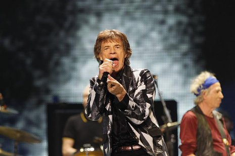 "Mick Jagger of British band The Rolling Stones performs during the opening night of their ""50 & Counting"" worldwide tour at Staples Center i"