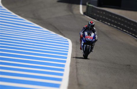Yamaha MotoGP rider Jorge Lorenzo of Spain rides his bike during the second qualifying race at the Spanish Grand Prix in Jerez de la Fronter
