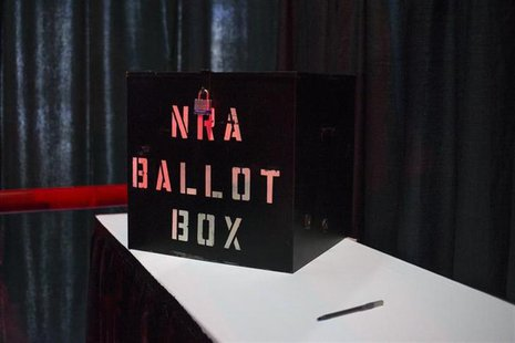A NRA ballot box is seen inside a voting booth during the National Rifle Association's Annual Meeting of Members in Houston, Texas on May 4,