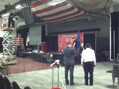 Republican State Convention setup underway at the Patriot Center in Rothschild