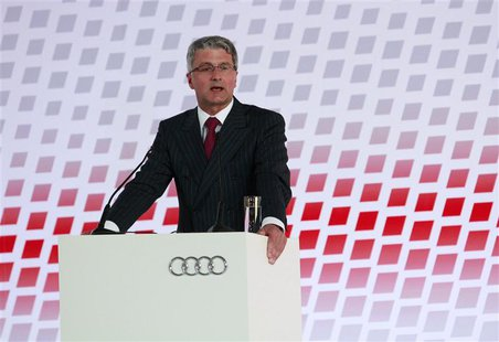 Audi Chief Executive Officer Rupert Stadler delivers a speech during the opening ceremony of the carmaker's new plant in the town of San Jos