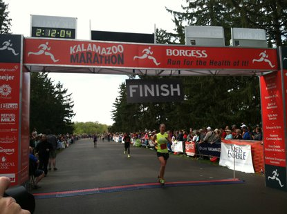 The finish line at the 2013 Kalamazoo Marathon