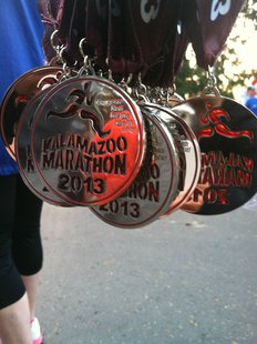 Medals for the 2013 Kalamazoo Marathon
