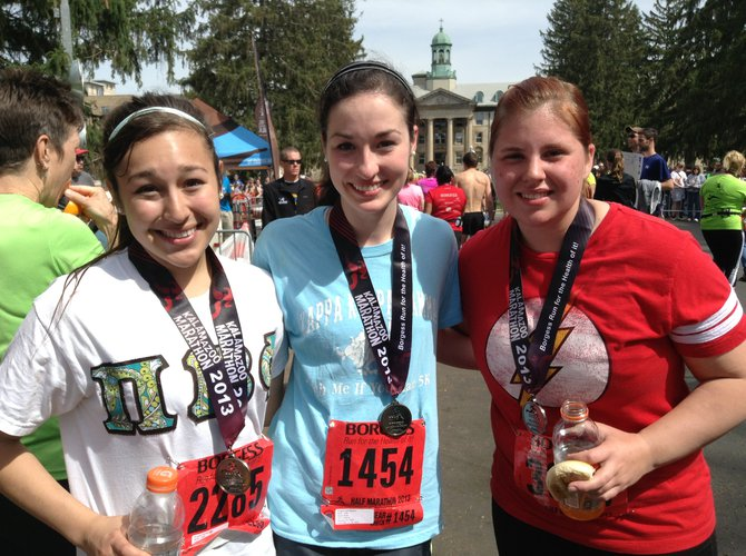 Ashley Logan of East Lansing, Elaine Clines of Maumee, Ohio & Staci Spears of Lake Orion ran the Kalamazoo half-marathon.