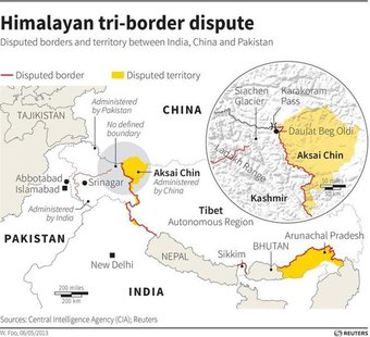 - INDIA-CHINA/ - Map of the Himalayas locating disputed borders and territory.