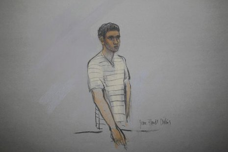 Defendant Robel Phillipos is pictured in a courtroom sketch, appearing at the John Joseph Moakley United States Federal Courthouse in Boston