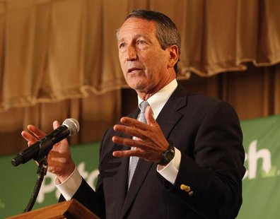 Former South Carolina Governor Mark Sanford makes a point during the debate with Democrat Elizabeth Colbert Busch for the South Carolina 1st