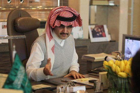 Saudi Prince Alwaleed bin Talal speaks during an interview with Reuters at his office in Kingdom Tower in Riyadh, May 6, 2013. REUTERS/Faisa