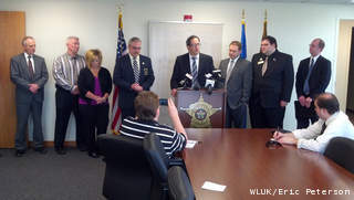 State and county leaders discuss a proposal to give counties an incentive to uncover fraud, waste and abuse in federal programs, at a May 6, 2013 news conference at the Brown Co. Sheriff's Office in Bellevue. (courtesy of FOX 11).