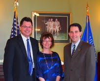 Marathon County Chief Deputy Scott Parks, his wife Theresa, and Governor Scott Walker