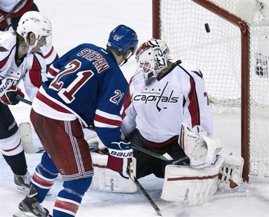 New York Rangers center Derek Stepan (21) scores past Washington Capitals goalie Braden Holtby in the third period of Game 3 of their NHL St