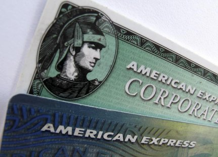 American Express and American Express corporate cards are pictured in Encinitas, California October 17, 2011. REUTERS/Mike Blake
