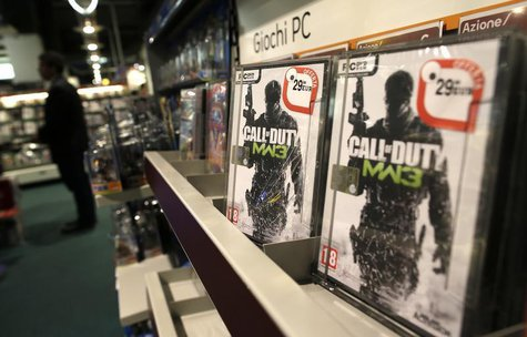 Copies of Call of Duty Modern Warfare 3 video game published by Activision Blizzard, owned by Vivendi, are displayed in a shop in Rome, Octo