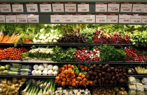Organic vegetables are shown at a Whole Foods Market in LaJolla , California May 13, 2008 as the company is set to release second quarter ea