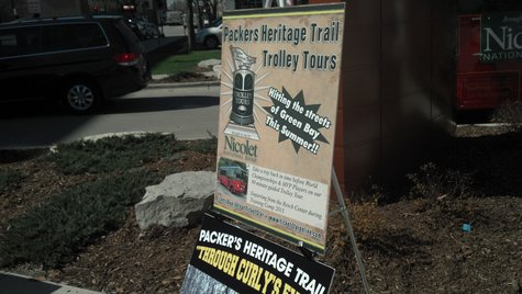 Green Bay Packers Heritage Trail promotional sign seen on May 7, 2013.
