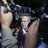 Democratic Senator Patrick Leahy of Vermont speaks to reporters in Havana February 20, 2013.REUTERS/Desmond Boylan