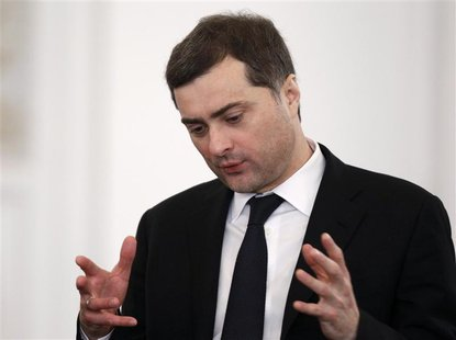 Kremlin aide Vladislav Surkov speaks before the state of the nation address at the Kremlin in Moscow in this December 22, 2011 file photo. R