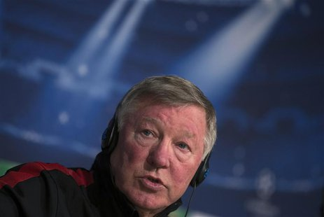 Manchester United's manager Alex Ferguson speaks during a news conference at Santiago Bernabeu Stadium in Madrid in this February 12, 2013 f