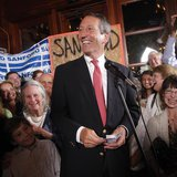 Former South Carolina Governor Mark Sanford celebrates his victory with a large crowd in the South Carolina first district congressional rac
