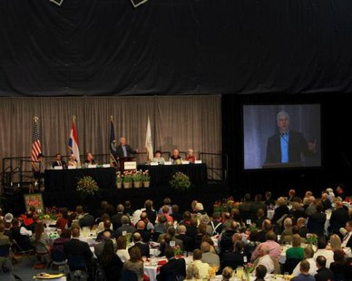 Governor Rick Snyder (R-Ann Arbor) addresses the Tulip Time Festival Luncheon in Holland. (Photo courtesy Tulip Time Festival)