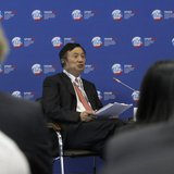 Huawei Chief Executive Ren Zhengfei takes part in a discussion meeting at the St. Petersburg International Economic Forum in St. Petersburg